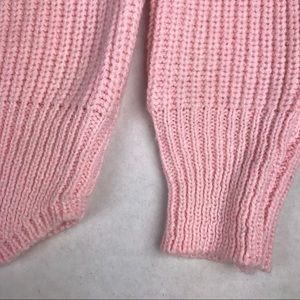 Vintage Sweaters - VINTAGE Pink Scalloped 80s Style Cropped Sweater